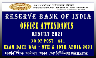 RBI Office Attendants Recruitment Result 2021