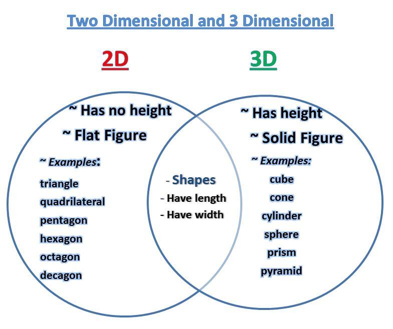 Printable Worksheets 2d & 3d shapes worksheets : Learning Ideas - Grades K-8: Venn Diagram - 2D and 3D Shapes