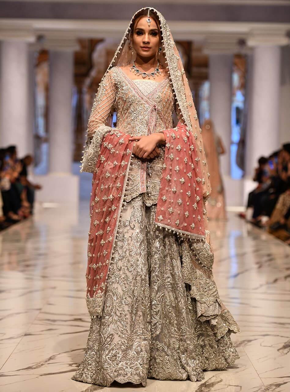Zainab Chottani Pink Angrakha with Silver Bridal Sharara