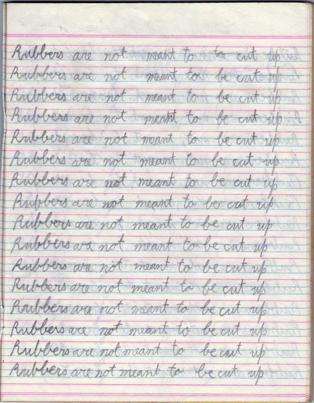punishment lines fetish Writing