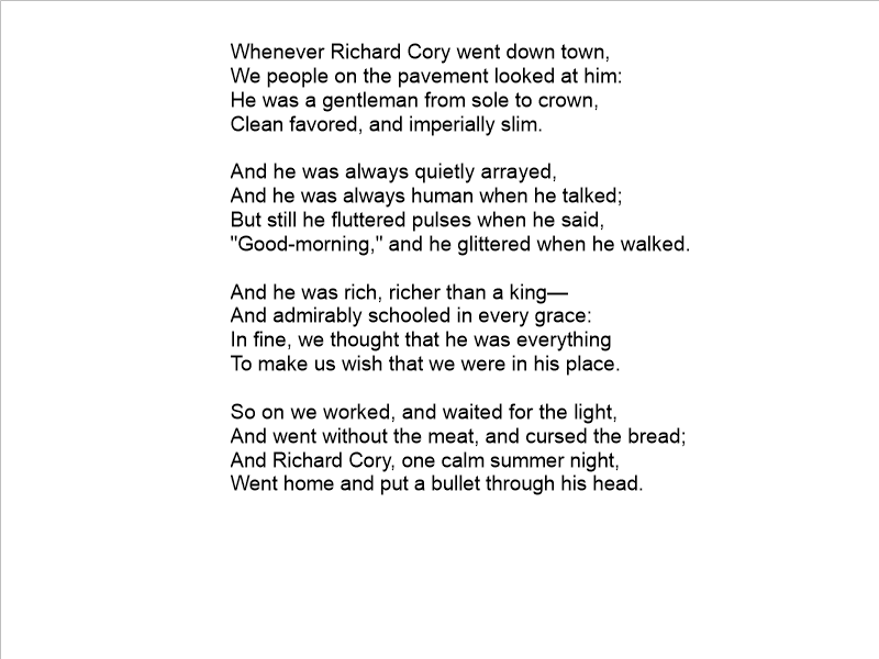 ehs ap literature composition more irony richard cory  more irony richard cory