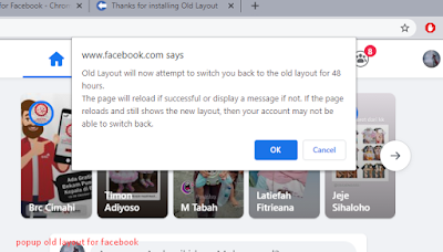 popup Old Layout for Facebook