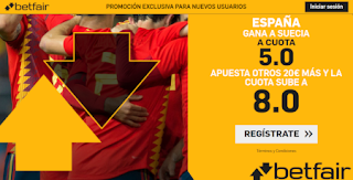 betfair supercuota Euro 2020 España gana Suecia 15-10-2019