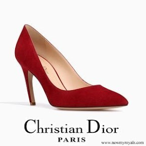 Queen Rania wore Dior High-Heeled Shoe In Red Suede Calfskin