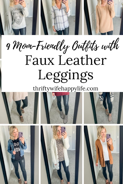 9 Mom-friendly outfits with faux leather leggings #fauxleatherleggings #leggings