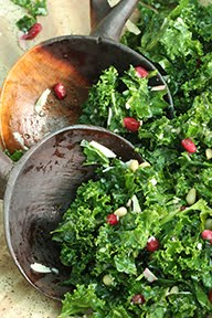 """Kale Mary"" Salad w/ Pomegranate Seeds, Pine Nuts, Parmesan & Lemon Olive Oil Dressing"