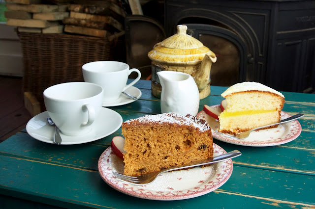 cake and tea at flowers farm