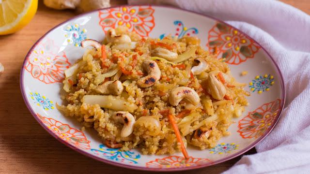 Quinoa salteada con verduras y anacardos