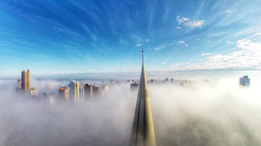 8. Clouds Hover Over City; Maringa, Parana, Brazil  - 12 of The Most Stunning Images Captured By Drones In 2015