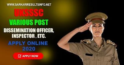 UKSSSC Various Post Apply Online 2020