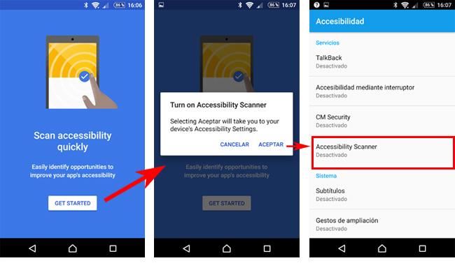 Tres pantallazos de la aplicación. En el primero destaca el botón 'Get Started'. Una vez pulsado, en la segunda captura un mensaje de confirmación pide permiso para abrir la pantalla de Ajustes. Una vez que se acepta, en la tercera captura se muestra la pantalla 'Ajustes:Accessibilidad' de Android, donde hay una opción 'Accessibbility Scanner' en estado desactivado.