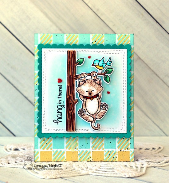 Hang in There Card by Larissa Heskett | Newton Hangs Out Die Set, Gingham Stencil and Frames Squared Die Set by Newton's Nook Designs #newtonsnook #handmade