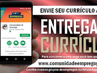 ENTREGA DE CURRÍCULO PARA TÉCNICO DE PRODUÇÃO EM SUAPE NO DIA 09/12/2019