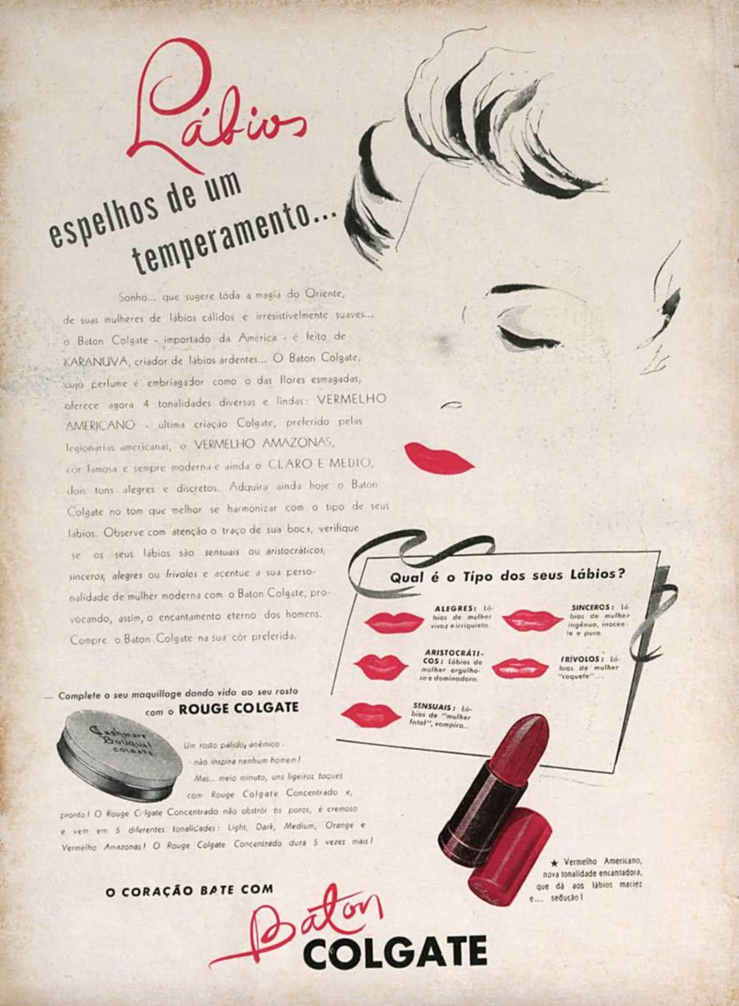 Anúncio antigo do batom Colgate veiculado em 1944