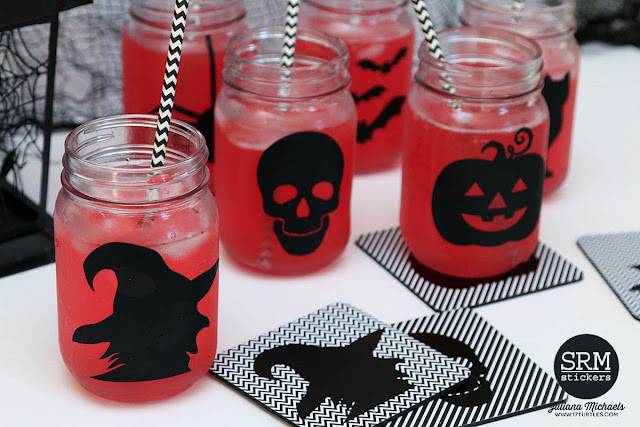 Halloween Mason Jars and Coasters by Juliana Michaels featuring SRM Stickers Adhesive Vinyl