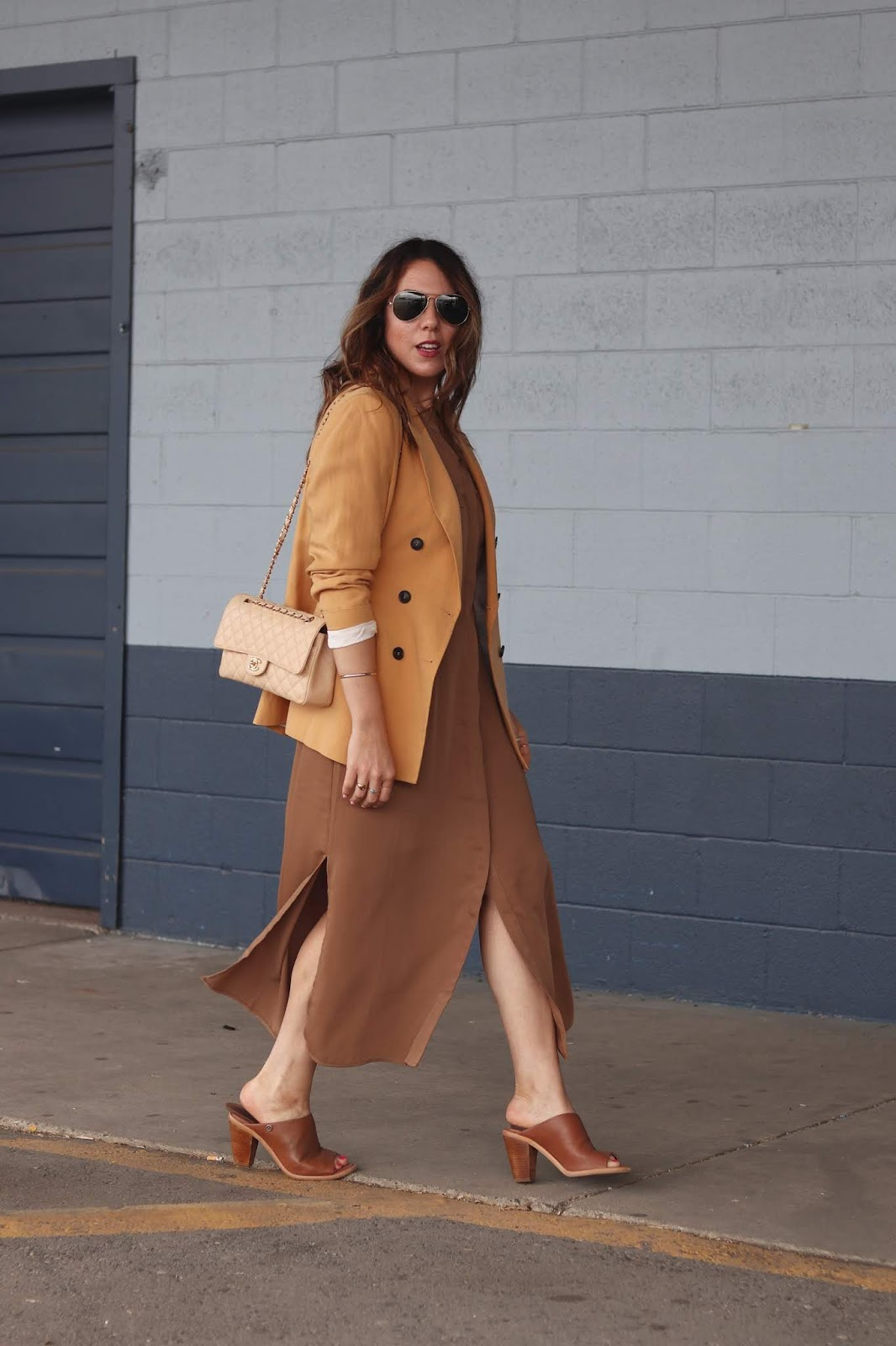 Le Chateau maxi dress and blazer outfit aleesha harris yellow blazer outfit