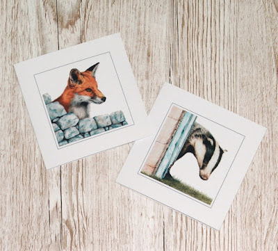digital greetings card, badger and fox