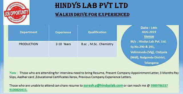 HINDY'S Laboratories - Walk-in interview for Production department on 14th August, 2019