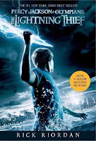 The Lightening Thief book cover shows Percy Jackson fighting at the seaside.