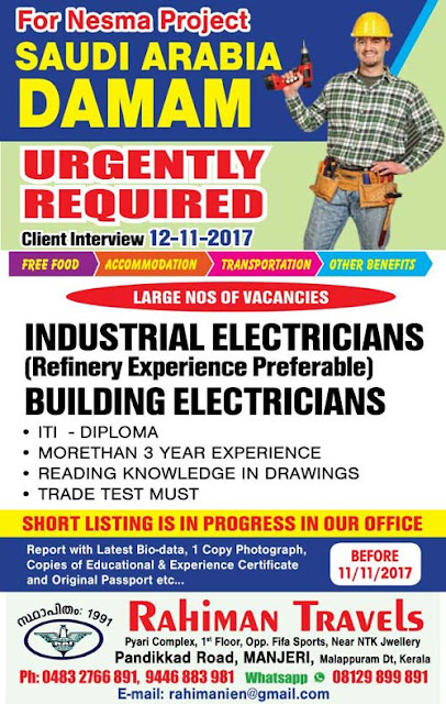 Industrial & Building Electricians Jobs in Nesma Project ; Damam, Saudi Arabia | Rahiman Travels