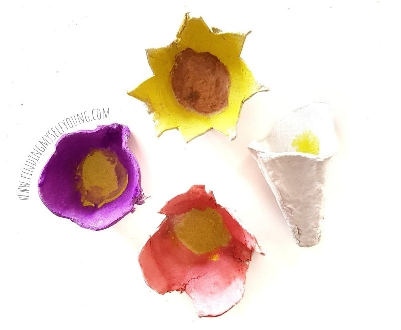 painted egg carton tulip, sunflower, pappy and peace lily