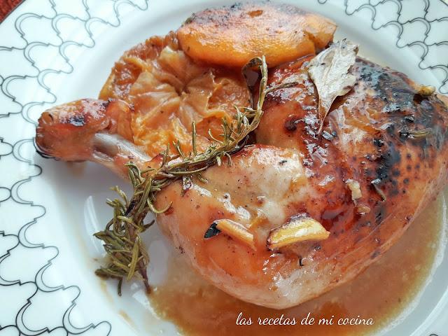 Pollo asado con mandarinas