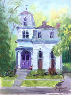 purple front door, house in Buffalo, plein air architecture