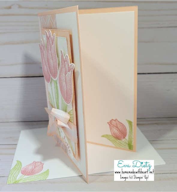 Inside View of trio of tulips card