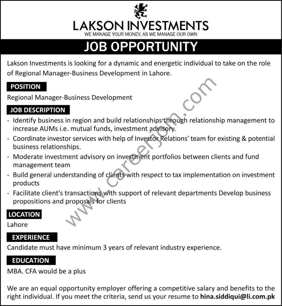 hina.siddiqui@li.com.pk - Lakson Investments Ltd Jobs 2021 in Pakistan