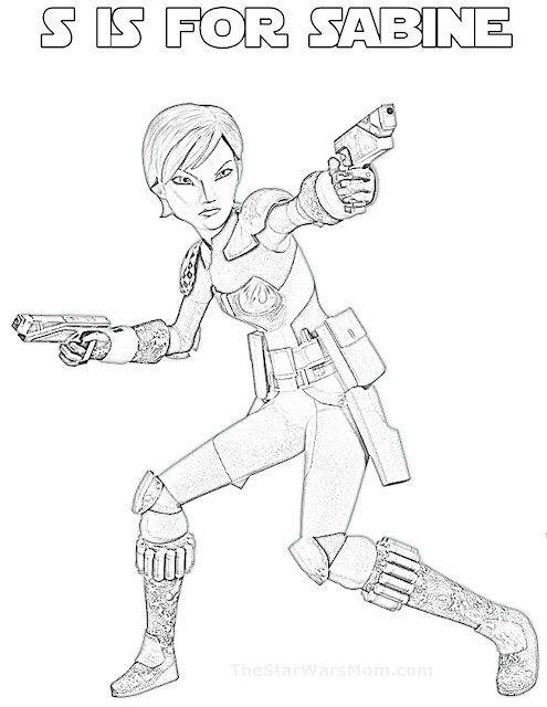 S is for Sabine Wren - Star Wars Rebels Alphabet Coloring Page