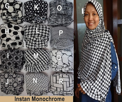 Grosir Jilbab Instan Monochrome