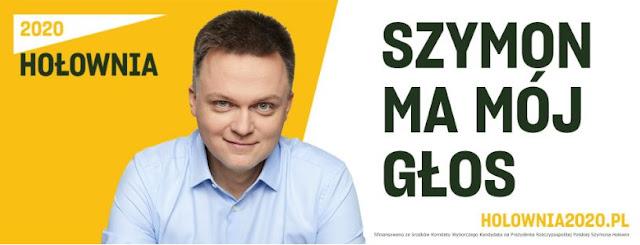 plakat Szymona Hołowni z jego portretem i hasłem Szymon ma mój głos