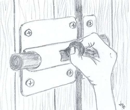 drawing of a hand sliding a deadbolt for the children's book The ABZ Affair