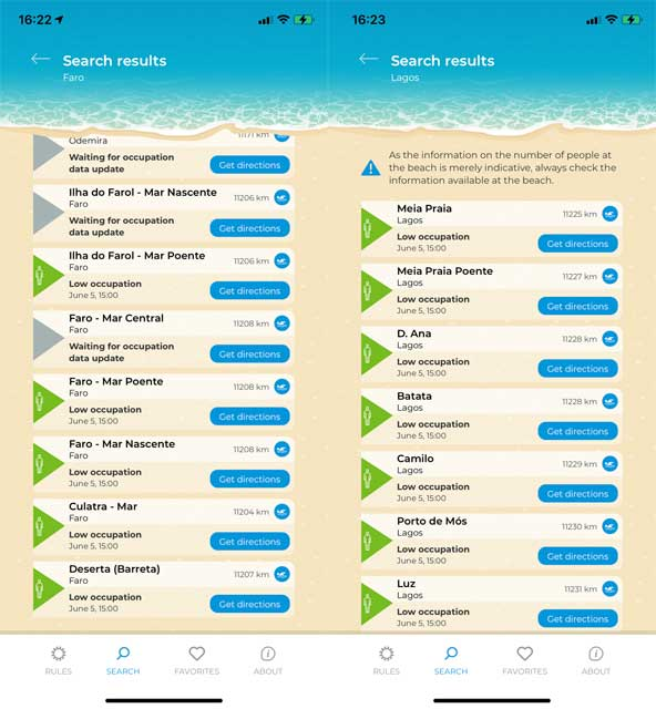 Information from the Info Praia app showing occupancy at  beaches in Faro and Lagos on the Algarve