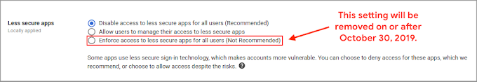 Limiting access to less secure apps to protect G Suite accounts