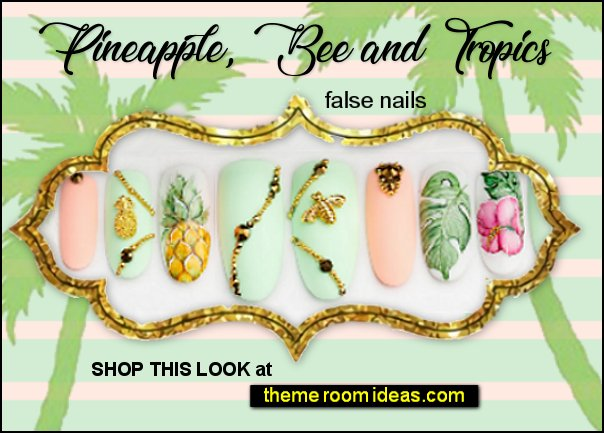 tropical nails Pineapple decals, Bee decorations  tropics beach nail art pineapple nails tropical art tropical palms false nails