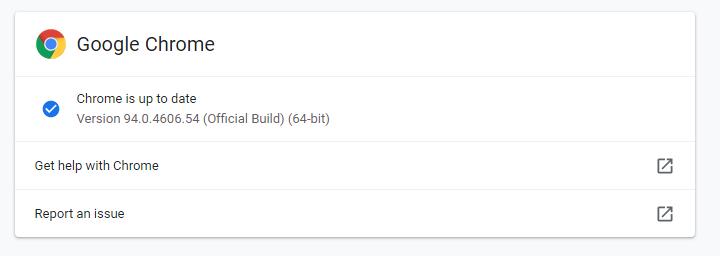 Chrome 94 update