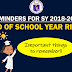 Reminders for EOSY Rites for SY 2018-2019