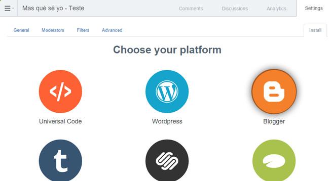 Há várias opções na tela. neste caso, selecione a imagem que corresponde á plataforma Blogger.