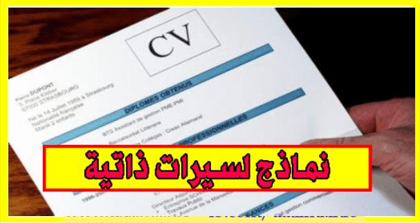 10 نماذج لسيرات ذاتية cv بالفرنسية والعربية بصيغة word قابلة للتعديل