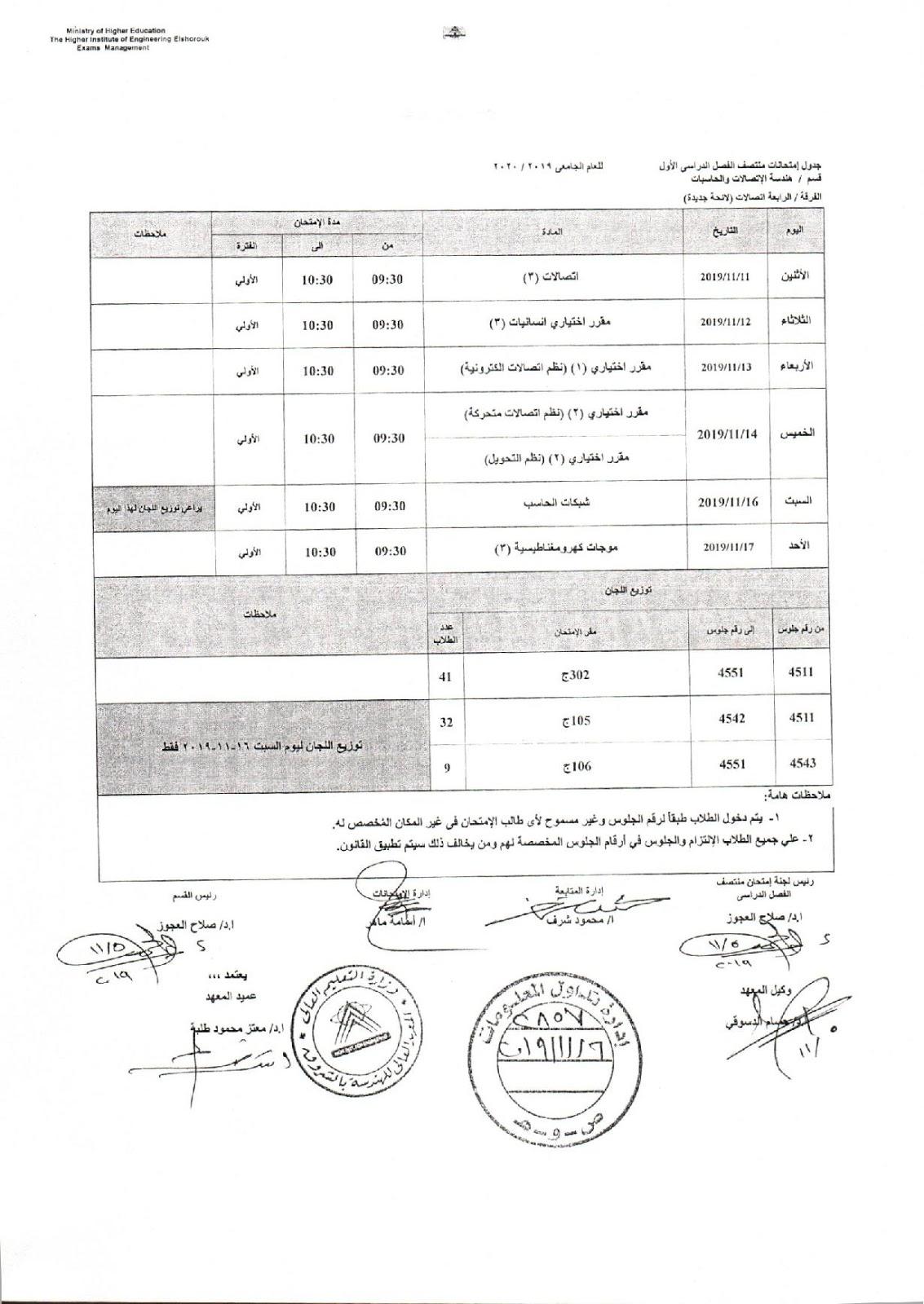 جدول امتحانات رابعة اتصالات لائحة جديدة هندسة الشروق الميدترم 2019-2020