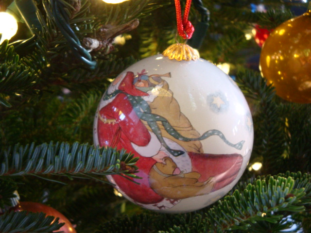 hand-painted glass ornament with Santa