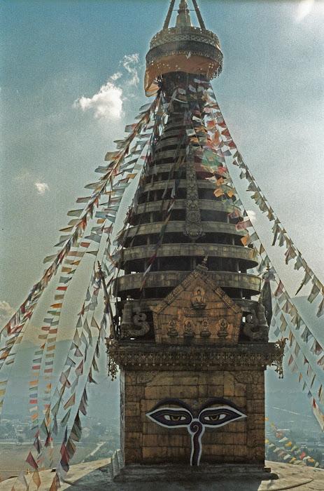 Népal, Katmandou, Stupa Swayambunath, © L. Gigout, 1990