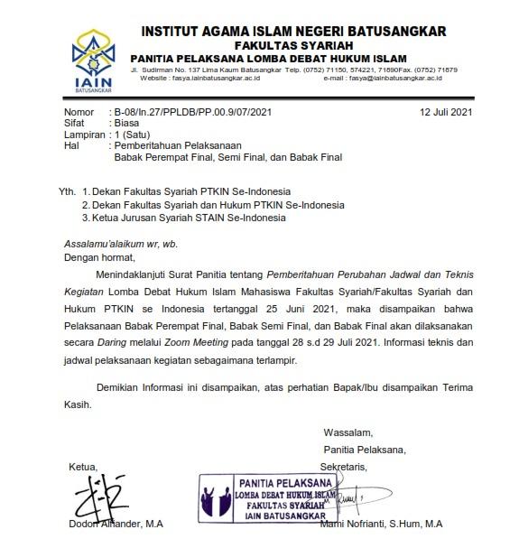 Pemberitahuan Pelaksanaan Babak Perempat Final, Semi Final, dan Babak Final Lomba Debat Hukum Islam Mahasiswa Tahun 2021