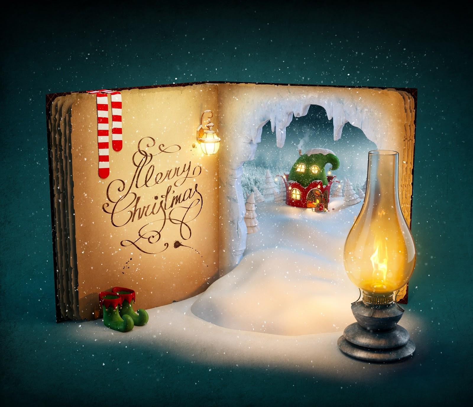 libro, scritta buon natale, lume, neve