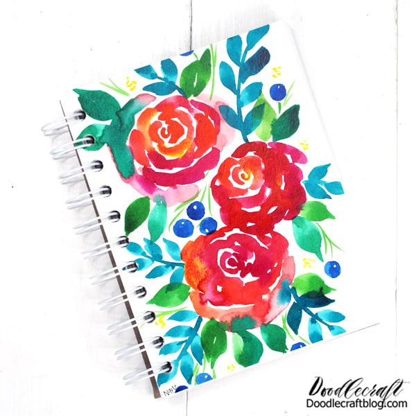 I usually start my painting with a slightly larger paper than the finished product, that way I can trim down the edges and make the painting just blend into the notebook.