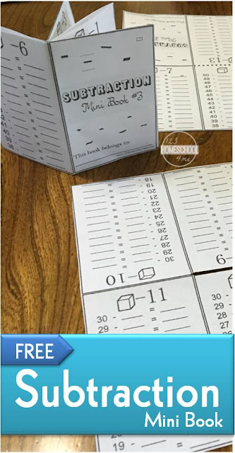 FREE Subtraction mini book is such a fun way for kids to gain fluency with math practice - free printable for first grade, 2nd grade and 3rd grade kids (homeschool, math worksheets)