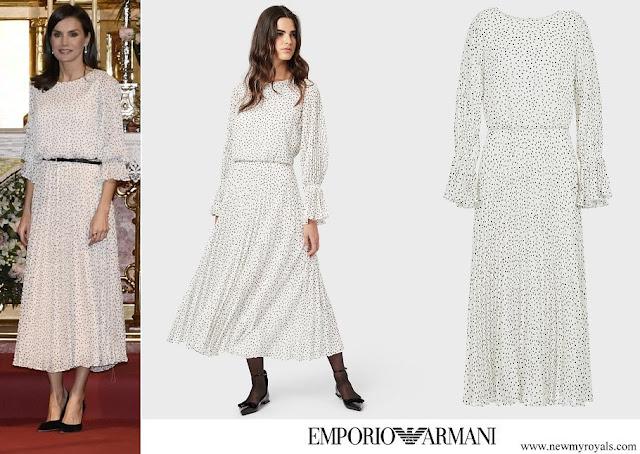 Queen Letizia wore Armani crepon long dress with polka-dot jacquard motif