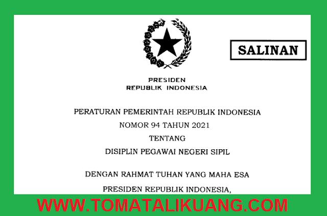 peraturan pemerintah pp nomor 94 tahun 2021 tentang disiplin pns pegawai negeri sipil tomatalikuang.com