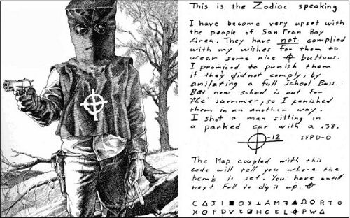 Một lá thư Zodiac từng gửi tới cho cảnh sát và báo chí.